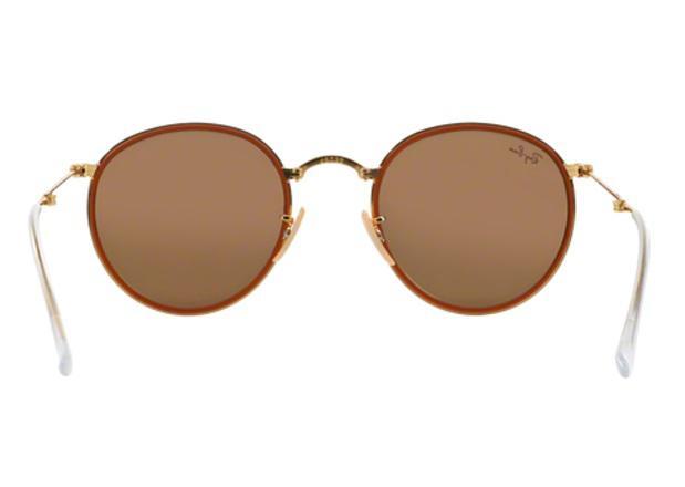 9410b6517fbe0 Imagem de Óculos de Sol Ray Ban Round Folding RB3517 001Z251 Ouro Lente Rosa  Espelhada