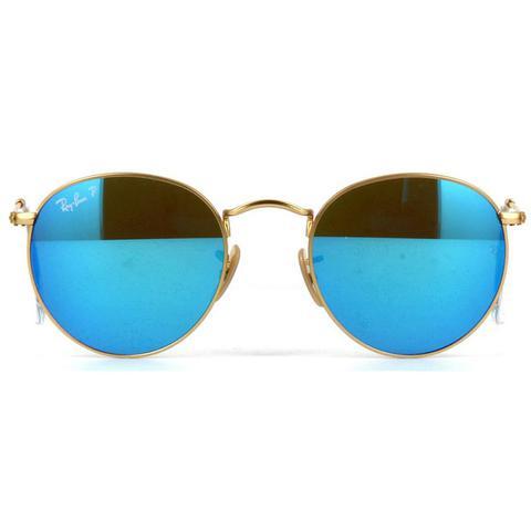738287c9293f0 Imagem de Óculos de Sol Ray Ban Round Metal Dourado Polarizado Lentes Azul  Espelhado