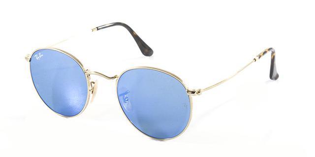 Imagem de Óculos de Sol Ray Ban Round Metal RB3447 Ouro Lente Azul Espelhada  Flat. Carregando. dc1105815b