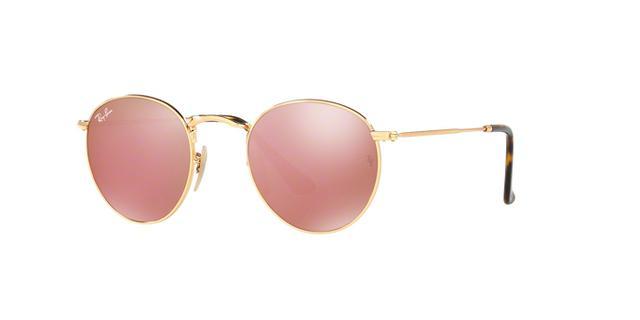 Imagem de Óculos de Sol Ray Ban Round Metal RB3447 Ouro Lente Rosa Espelhada  Flat Lente 2202fed933e78