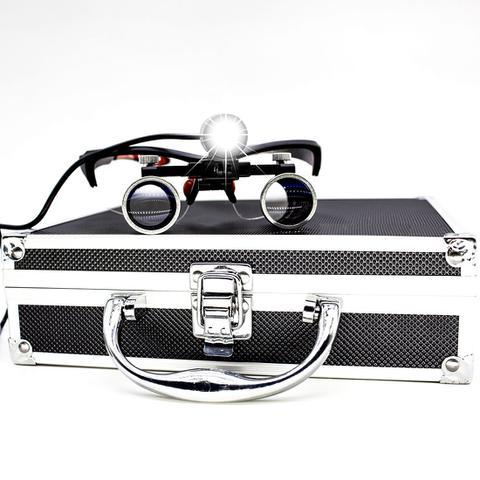 Imagem de Óculos Lupa Cirúrgica Com Led para Médico Cirurgião Odontologo Preto GT639-B - Lorben