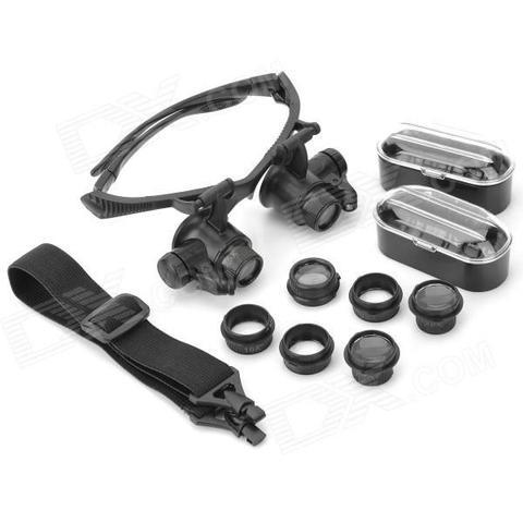 Imagem de Oculos lupa de cabeca profissional jogo de 4 lentes com iluminacao  led aumento de 67c71ad691