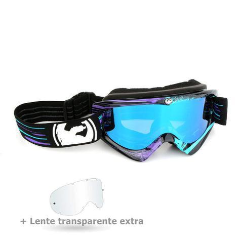 547bee97f9652 Imagem de Óculos Motocross Dragon MDX Paint Drip Preto E Azul - Lente Azul  Espelhada +