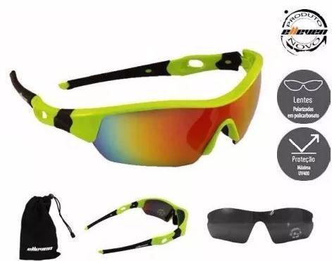 Imagem de Oculos para ciclismo elleven spider neon lente espelhada uv400  lente extra escura e1efceea38
