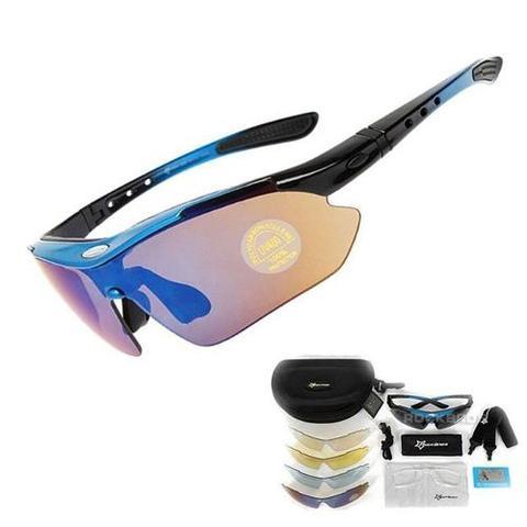 Imagem de Óculos Sol Bike Bicicleta Ciclismo Rockbros Polarizado 5 Lentes (apenas 1 é polarizado) Azul
