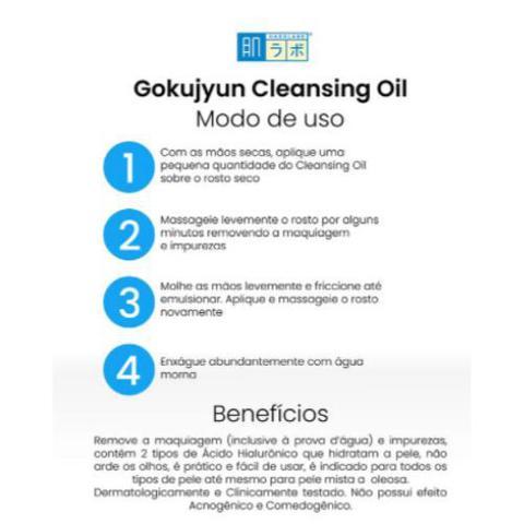 Imagem de Óleo Demaquilante de Limpeza Facial Gokujyun Oil Cleansing Hada Labo 200ml