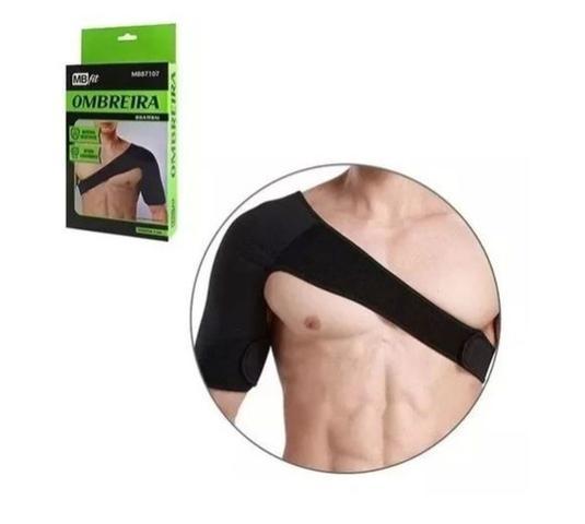 Imagem de Ombreira Protetor Ombro Suporte Academia Contra Lesões Preta Ajustável