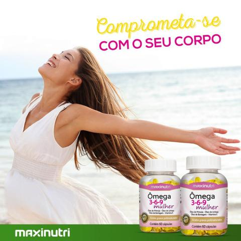 Imagem de Ômega 3 6 9 Mulher Linhaça /Prímula/ Borragem / Vitamina E 60 Cáps - Maxinutri