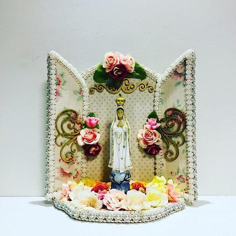 Imagem de Oratorio de madeira catolico decorativo nossa senhora de fátima