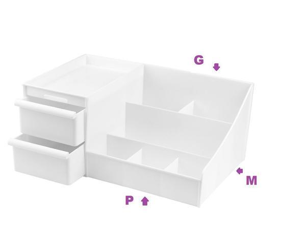 Imagem de Organizador De Mesa com Gaveta Porta Treco Multiuso Branco