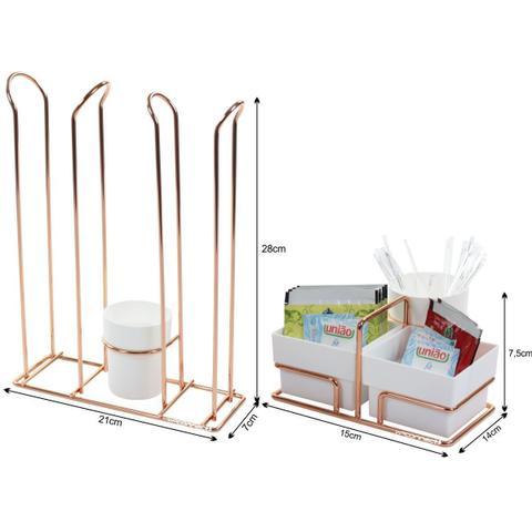 Imagem de Organizador de Sachês Mexedores Porta Copos Café Água - Rosé Gold
