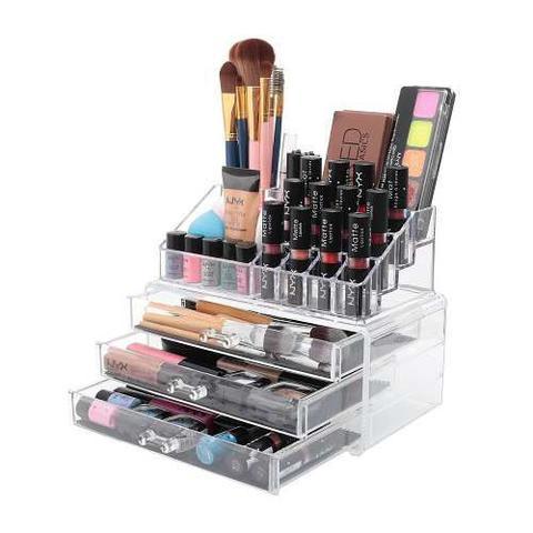 Imagem de Organizador porta maquiagem de acrilico com 3 gavetas maleta para cosmeticos batom pincel e joias em