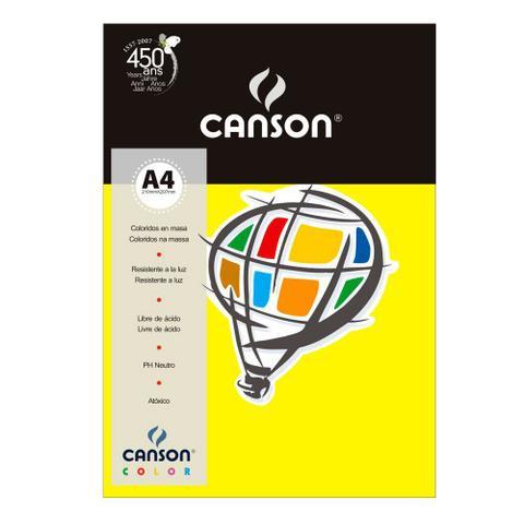 Imagem de Pacote Canson Color Amarelo Canário 180g/m² A4 210 x 297 mm com 10 Folhas - 66661188