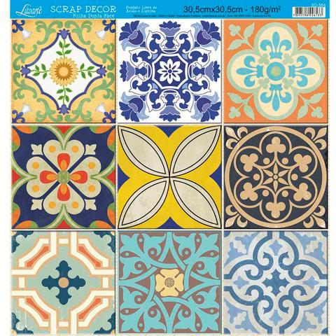 Imagem de Página para Scrapbook Dupla Face Litoarte 30,5 x 30,5 cm - Modelo SD-564 Azulejos e Tijolos