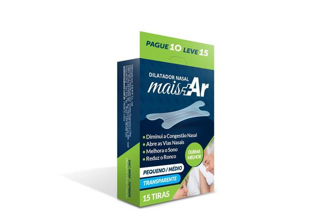 Imagem de Pague 4 Leve 5 - Dilatador Nasal Mais Ar - Pequeno/Médio - Transparente - Caixa c/ 15 Unid