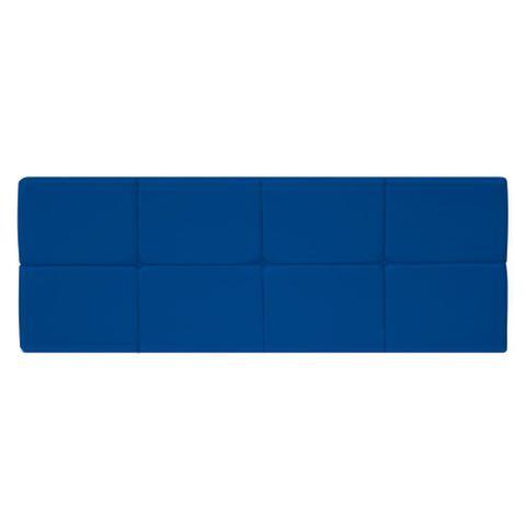 Imagem de Painel Cabeceira Estofada Nina 140 cm para Cama Box de Casal Corano Azul Marinho Quarto - AM Decor