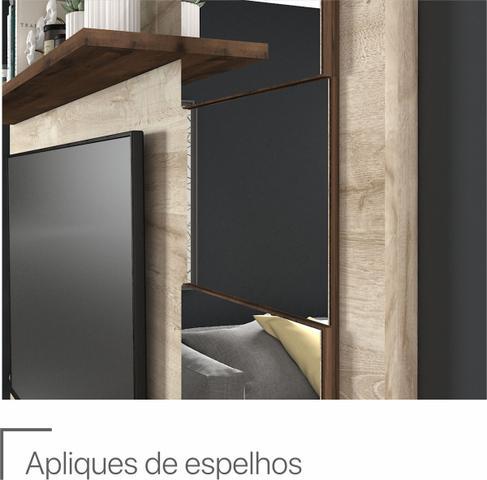 Imagem de Painel com Espelhos 100% Mdf A 162 cm X L 216 cm X P 34 cm 2 Portas Basculantes 3 Prateleiras para Tv Ate 50 Polegadas Murano Rustico/Cafe - Permóbili