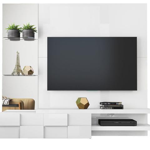 Imagem de Painel Home Suspenso Turim Para Tv 50 Polegadas - Dj Móveis Branco Laca