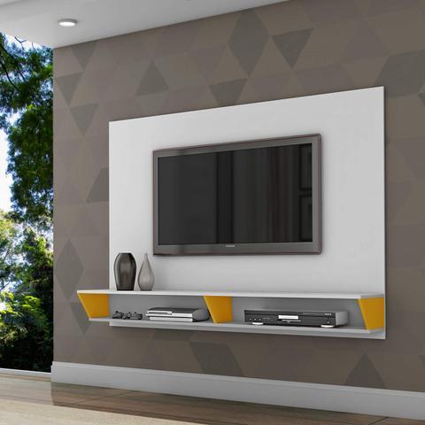 Imagem de Painel para TV até 47 Polegadas 2 Nichos Leblon Retrô Siena Móveis Branco/Amarelo