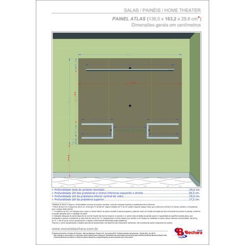 Imagem de Painel para TV até 55 Polegadas 6 Prateleiras Atlas Móveis Bechara Madeira Rústica/Madeira 3D