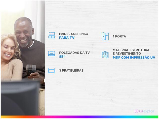 """Imagem de Painel para TV até 58"""" 3 Prateleiras Colibri"""