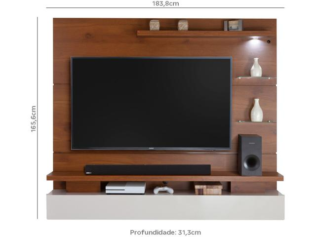 """Imagem de Painel para TV até 65"""" 3 Prateleiras"""