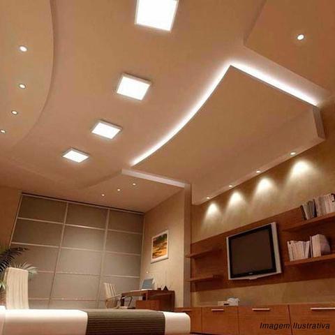 Imagem de Painel Plafon Luminária Led Quadrado Slim 25W 6000K Branco Frio Bivolt Alumínio Sobrepor