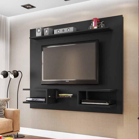 Imagem de Painel Tv preto 55 Pol Com Prateleiras 163 Cm para sala