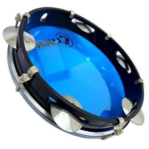 Imagem de Pandeiro 10 Polegadas Azul Pele Cristal Corpo Preto (50062AZ) Luen