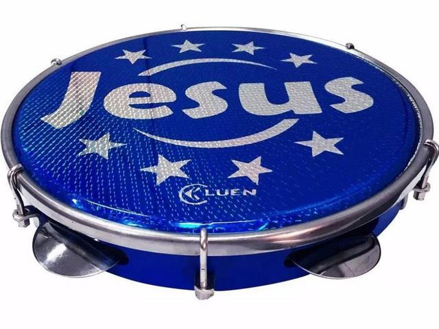 Imagem de Pandeiro Luen Jesus 10 Polegadas Aro Abs Holográfica Azul