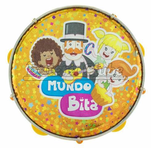 Imagem de Pandeiro Luen Mundo Bita 8 em ABS com Platinelas Musicalização Infantil (40084MB/LR)