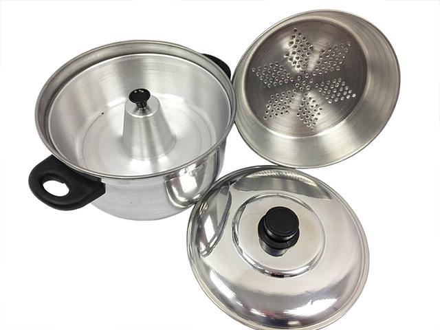Imagem de Panela Banho Maria 3 Em 1 Forma Pudim a Vapor Alumínio Preta