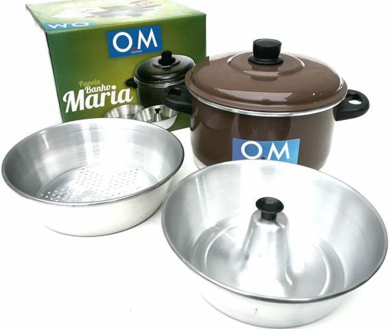 Imagem de Panela Banho Maria Para Pudim e Alimentos no Vapor Kit 3 em 1