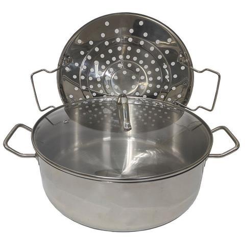 Imagem de Panela Cozimento Vapor Cozinha Peixes Legumes Espagueteira 7L Tampa Vidro