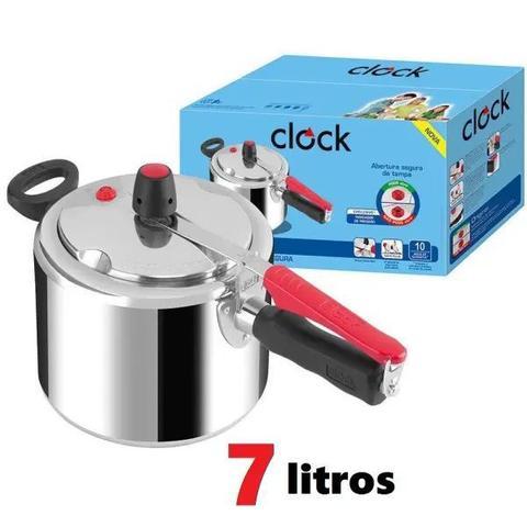 Imagem de Panela de Pressão Clock 7 Litros Alumínio Polida Original Sistema de segurança Clock Safe Plus