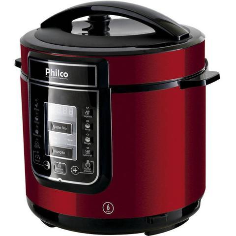 Imagem de Panela de Pressão Elétrica Inox Philco 6 Litros - Painel Digital com Timer e 14 Funções - 1000W - Vermelho - PPPV01
