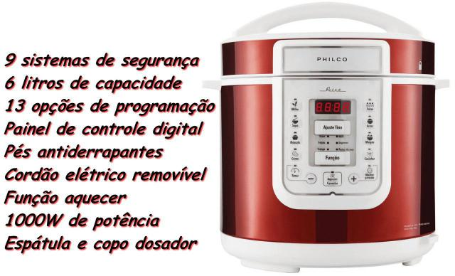 Imagem de Panela De Pressão Elétrica Retrô 6 Litros Display Painel Digital 13 Funções Vermelha 127V Timer 1000W Aquece Cuba Removível Segurança Philco