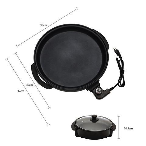 Imagem de Panela Elétrica Amvox APE 3000 Grill Redonda Antiaderente Multifuncional 30cm 1200W