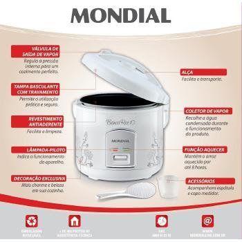 Imagem de Panela Eletrica ARROZ Mondial 10 Xicaras 700W - PE-10 Branco 220 VOLTS