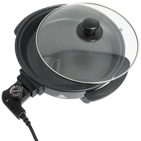 Imagem de Panela Elétrica Grill 220V Redonda 30 Cm Multifuncional 1200W Antiaderente Amvox APE 3000-2 Preta