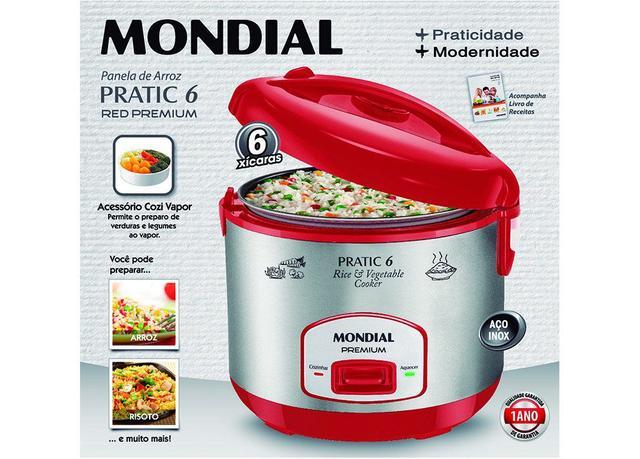 Imagem de Panela Elétrica Pratic Rice 6 Xic Red Premium Mondial PE-35 400W 110V