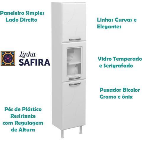 Imagem de Paneleiro Simples Direito Aço com 1 Porta de Vidro Safira Telasul