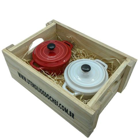 Imagem de Panelinhas Vermelha, Branco de Porcelana com engradado para presente