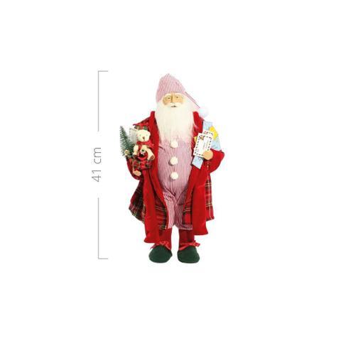 Imagem de Papai Noel de Pijama Listrado Cartas 41 cm Decoracao Natalina Boneco Enfeite de Natal Presente