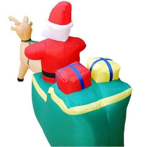 Imagem de Papai Noel no Trenó com Rena PW108 Inflável Iluminado 127v