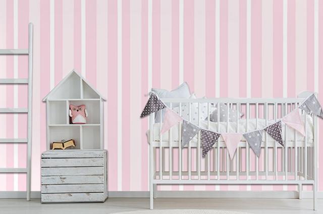 Imagem de Papel Adesivo Contact Infantil Listrado Rosa 45cm X 10m