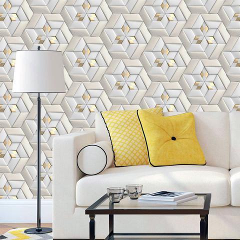 Imagem de Papel de Parede 3D Dourado e Cinza Geometrico Autocolante