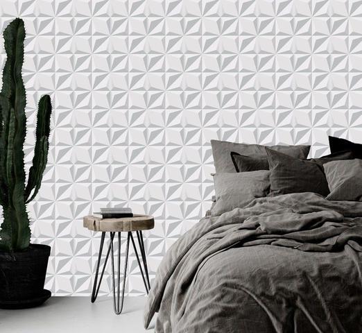 Imagem de Papel De Parede 3D Efeito Cinza Branco Gesso Adesivo Lavável