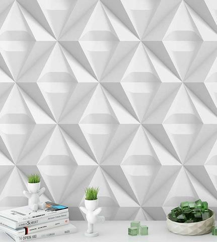 Imagem de Papel De Parede 3D Triangulos Para Quartos E Sala Em Tons De Branco E Cinza