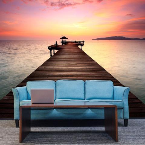 Imagem de Papel de Parede Adesivo Personalizado, Deck, Lago, Rio, Paisagem